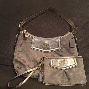 Coach Gold Madison Op Art Handbag & Wristlet